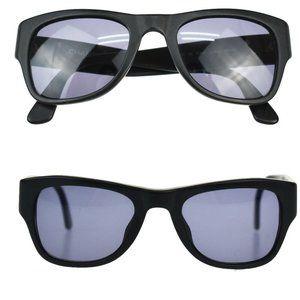 Authentic CHANEL CC Logos Sunglasses Eye Wear Matte Plastic Black Gold